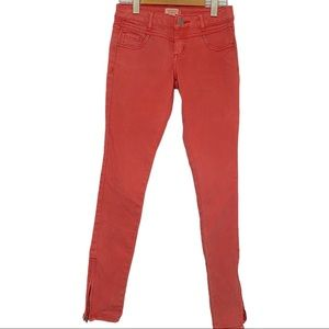 Forever 21 coral skinny jeans with zippers size 24